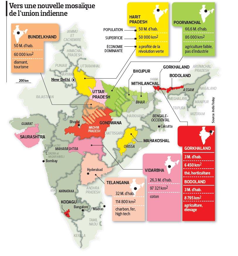 Les nouveaux états de l`Inde
